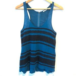 Kimchie Blue   blue camisole with black lace lines